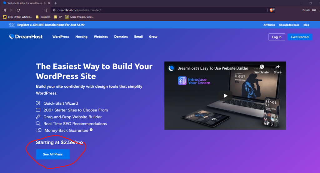 Plans to build a simple website with Dreamhost